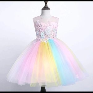 Girls rainbow dress with unicorn headband
